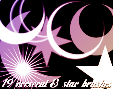 19 Crescent and Star Brushes